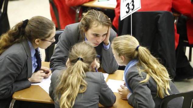 epa06148799 Learners from St Cyprians school react during the 25th annual South African Institute of International Affairs (SAIIA) interschool quiz competition at Bishops High School in Cape Town, South Africa, 17 August 2017. The SAIIA Quiz Night started in 1993 and is designed to draw learners from South Africa of all backgrounds into reading world news and becoming involved in the future of the nation?s international affairs. The annual competition tests the learners in their general knowledge of current international affairs. 168 learners from 42 schools across the Western Cape take part.  EPA/NIC BOTHMA