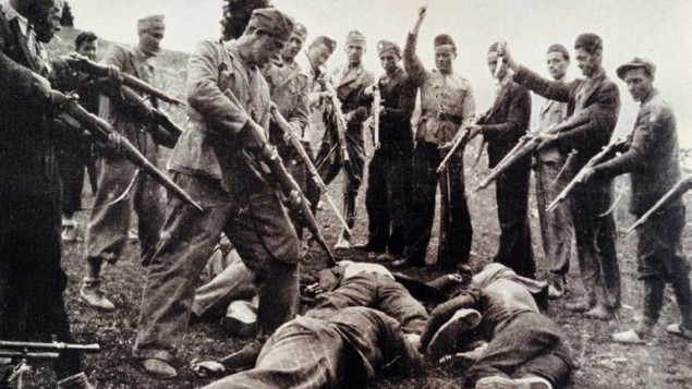 1945 FILE PHOTO - Victims of the Nazi-backed Ustasha regime, killed at the end of the World War Two, lay on the ground near the river Sava in Croatia in this 1945 file photo. The last known World War Two concentration camp commander, Dinko Sakic, is to be sentenced today at the Zagreb county court for his role in war crimes committed against civilians. Sakic, 77, is charged with being responsible for the deaths of at least 2,000 people in the Jasenovac concentration camp, while he was a member of the fascist Ustasha regime.  HPO - RP1DRILNUAAA