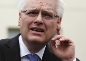 President Ivo Josipovic of Croatia gestures as he speaks to the media after a meeting with U.S. Vice President Joe Biden at the White House in Washington May 14, 2014. REUTERS/Yuri Gripas (UNITED STATES - Tags: POLITICS)