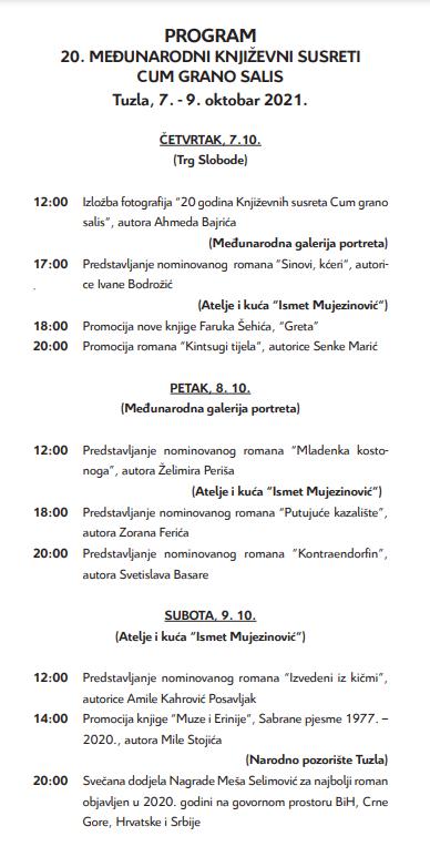 Program 20. književnih susreta Cum grano salis